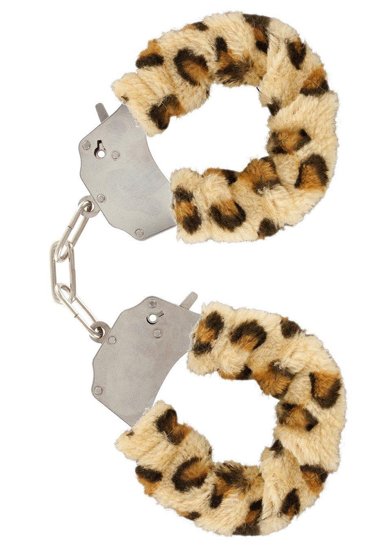 Stalowe kajdanki z futerkiem w panterkę