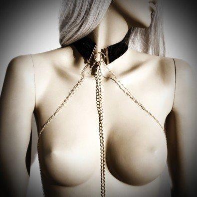 Elegancka obroża ze złotym łańcuszkiem Bijoux indiscrets