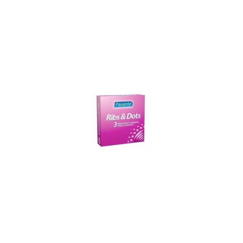 Prezerwatywy z wypustkami i prążkami Pasante 3 sztuki