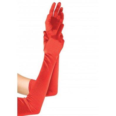 Satynowe długie rękawiczki Leg Avenue w kolorze czerwonym