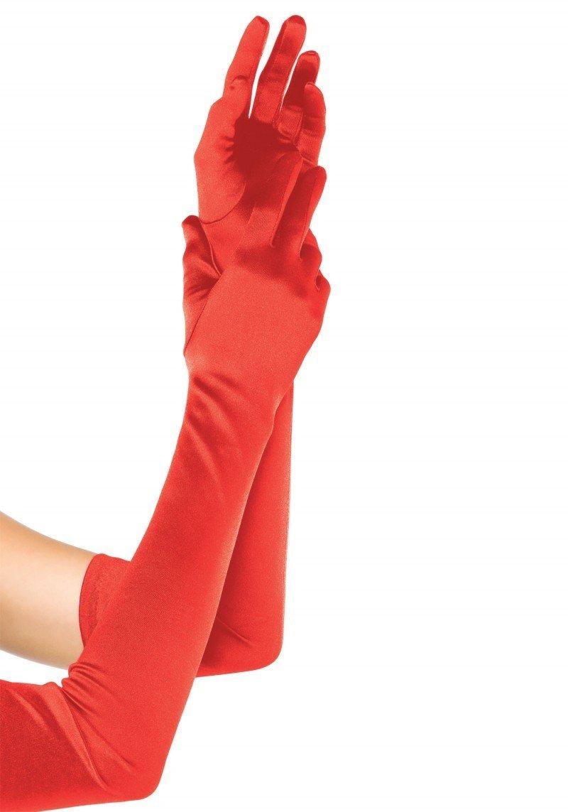 Satynowe długie rękawiczki w kolorze czerwonym