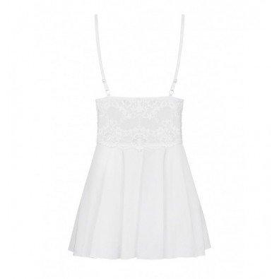 Urocza biała koszulka babydoll + stringi Obsessive