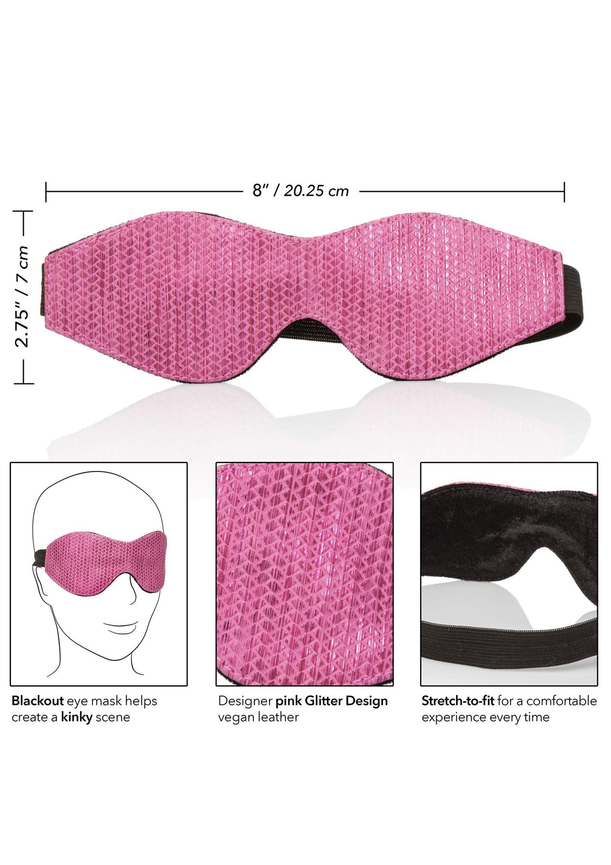 Różowa maska na oczy ze świecącej ekoskóry
