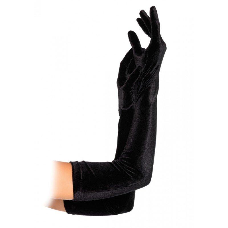 Długie drapieżne rękawiczki z tkaniny velvet 8458