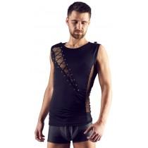 Czarna męska koszulka ze sznurowaniami na klatce piersiowej 9060