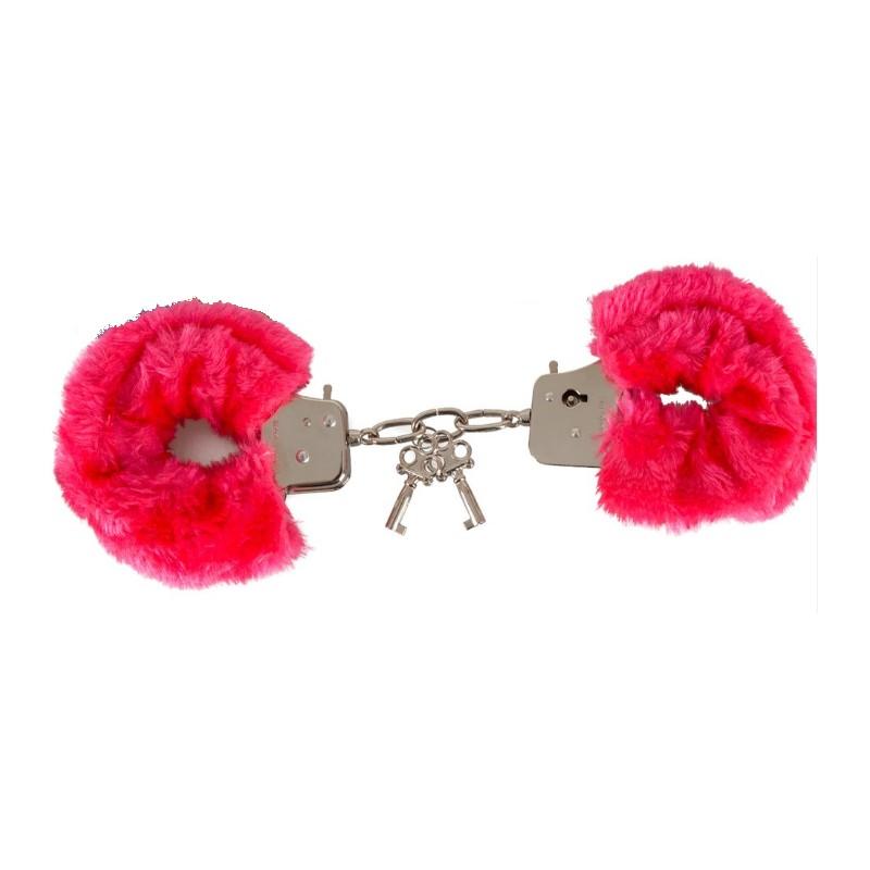 Stalowe kajdanki obszyte czerwonym futerkiem 9074